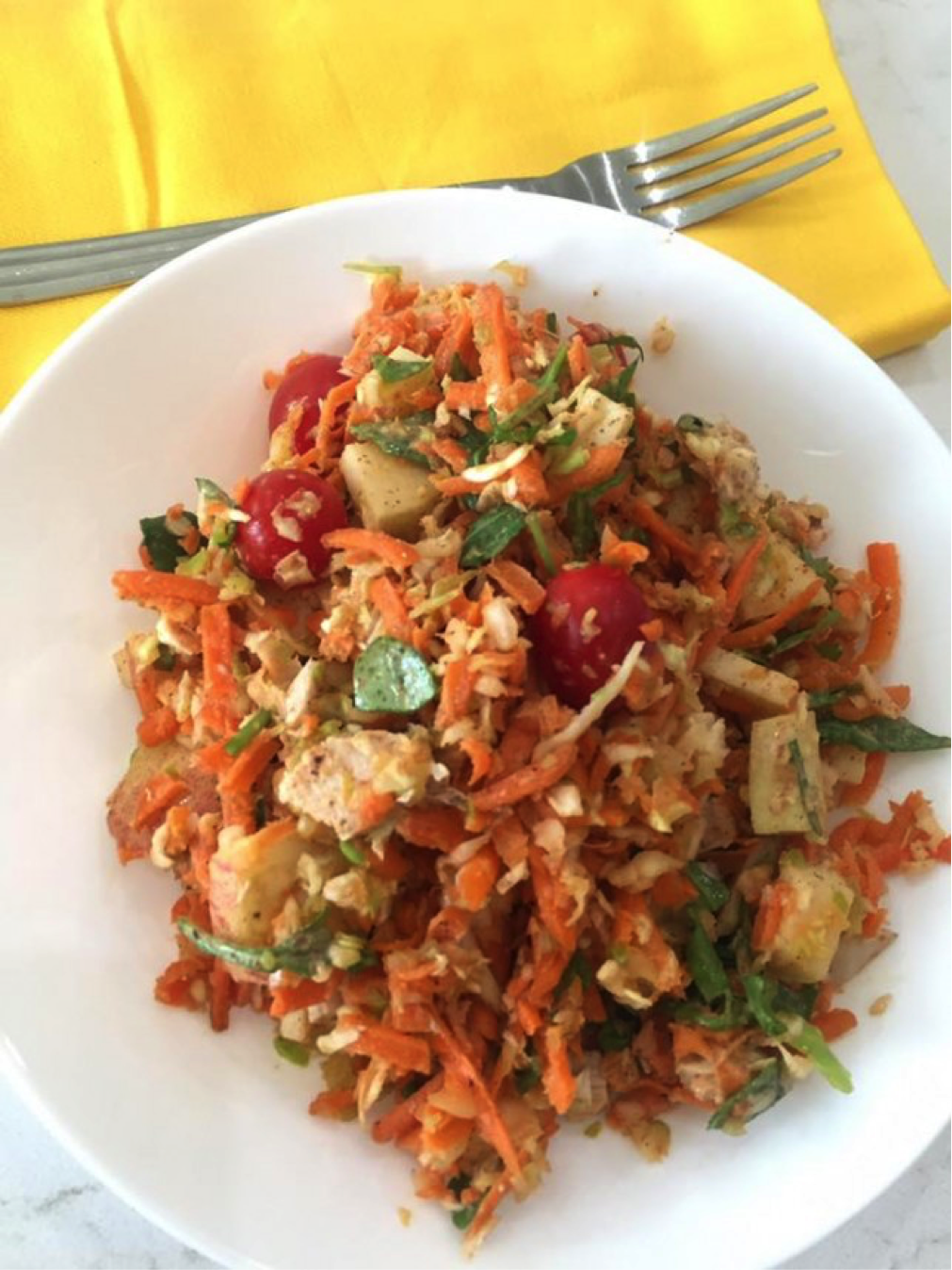 The Cabbage and Carrot Salad with Ginger Almond Dressing
