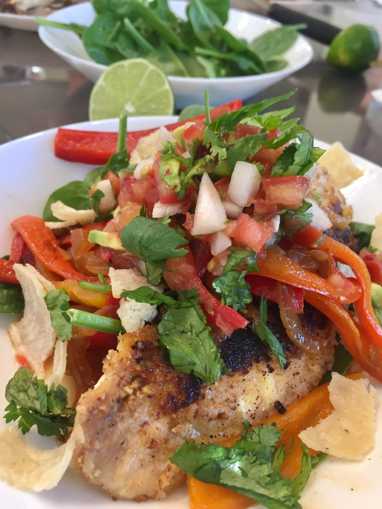"""Sprouted Almond Fish """"Taco"""" Bowl"""
