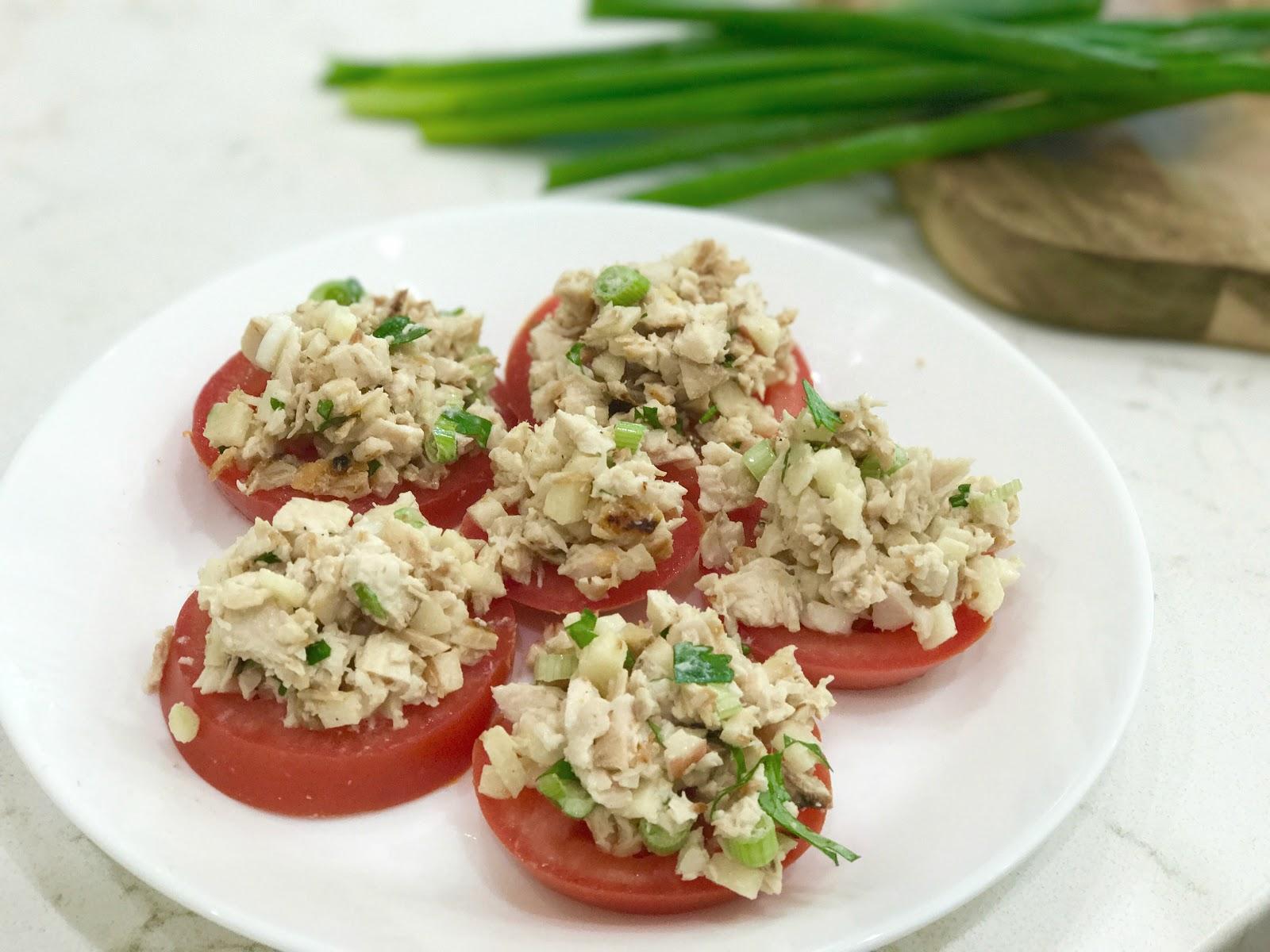 Chicken & Apple Salad on Tomato Slices
