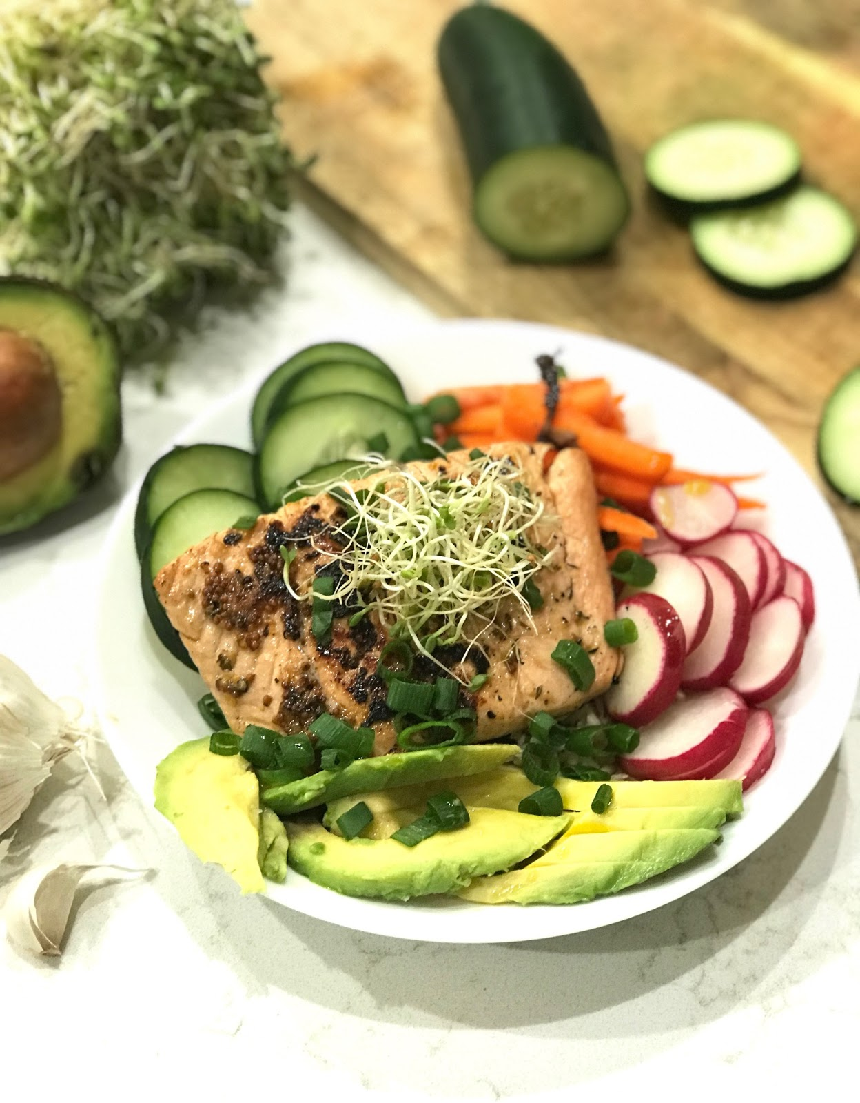 10 Minute Grilled Salmon Bowl